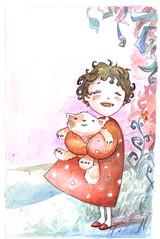 Niita del bosque (-Laura Prez-) Tags: red verde girl azul illustration rouge rojo rosa nia bosque draw ilustracin fret