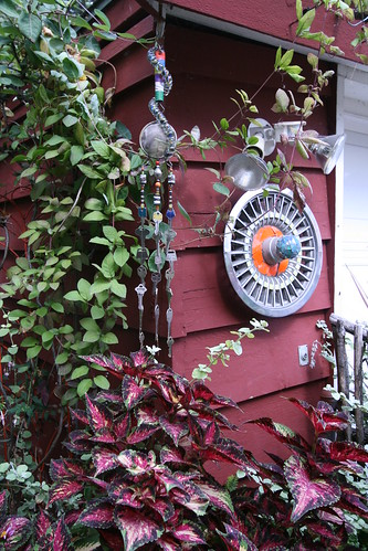 Garden vignette with recycled art