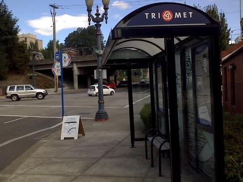 Empty TriMet stop