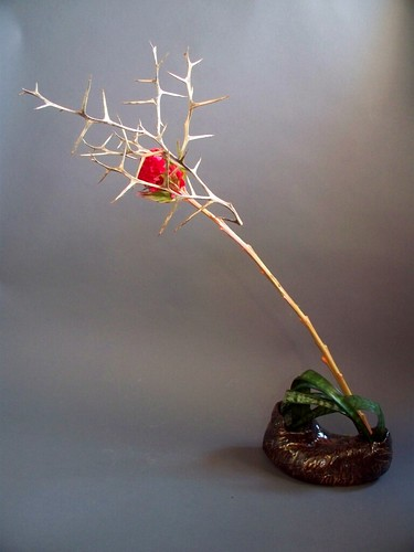 Ikebana with self made vase