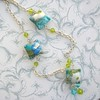 Blue Green Pillow Necklace