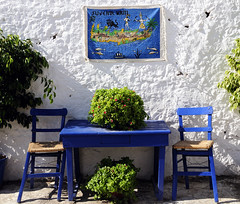 Alfresco Dining, Crete (Robert Louden) Tags: blue chair greece crete