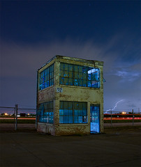 BLDG #10 Revisited (Noel Kerns) Tags: blue storm abandoned night globe factory texas aircraft lightning mound saginaw