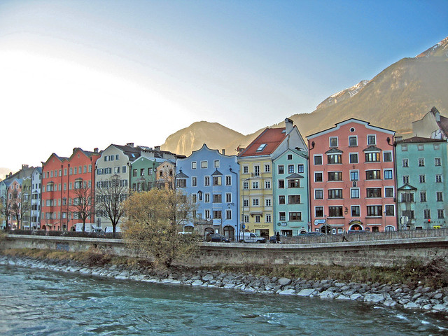 Pastel houses along the river - Innsbruck