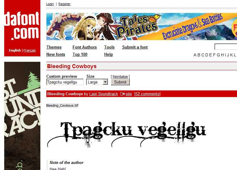 """Ето как изклежда """"Tpagcku vegeIIgu"""" изписано с """"Bleeding Cowboys"""""""