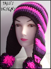 Pink, Black and Purple Earflap Hat