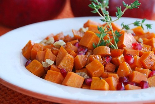 sweet potatoes and pomegranates