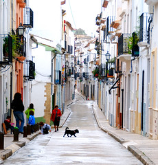 Dog crosses a street in Benissa   Spain (keithhull) Tags: street dog white children town spain explore soe balconys benissa explorewinnersoftheworld nikonflickraward50mostinteresting leuropepittoresque