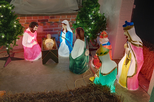 Saint John the Baptist Roman Catholic Church, in Villa Ridge (Gildehaus), Missouri, USA - outdoor crèche at Christmas