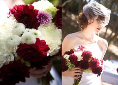 (Green Heat) Tags: california flowers wedding fall santabarbara bride october her mums bouquet dahlias montecito birdcageveil