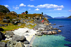 Andlopen In Flakstad (steinliland) Tags: sea summer beach water strand bay sand cabin rocks lodge domestic shore inlet lofoten hytte lofotenislands naturelovers removedfromnikkorfortags anawesomeshot ishflickr rollinstones betterthangood worldwidelandscapes boatislandpoetry farmsteinliland nappstraumenvik