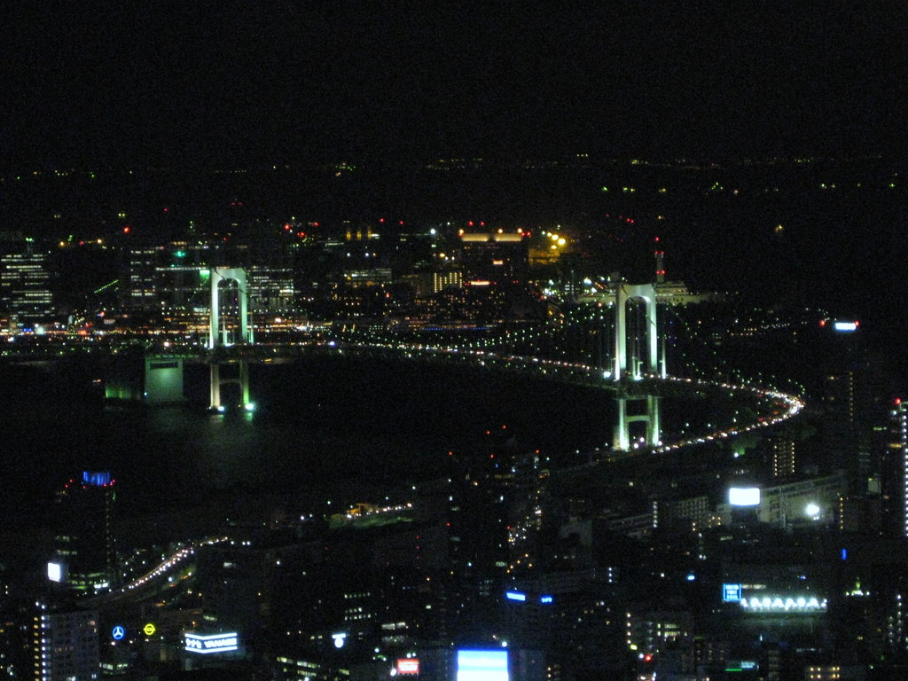 View of Rainbow Bridge from Tokyo Tower (night view)