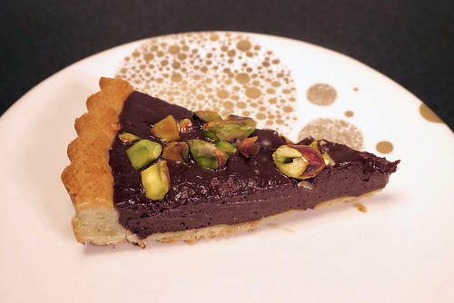 Dark Chocolate Ganache Tart with Toasted Pistachios