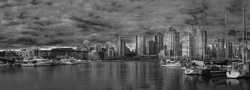 Vancouver Downtown Dusk Cropped Black White