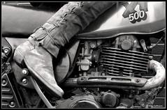 Kick start (Rob de Hero) Tags: blackandwhite bw film leather analog xt cowboy boots kick motorbike motorcycle yamaha analogue schwarzweiss sr leder kickstart negativ motorrad stiefel sr500 xt500