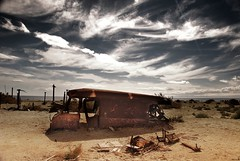 exploration : Salton Sea - Bombay Beach - stranded on sands (tofu_minx) Tags: brown abandoned broken clouds truck rust iron decay salt vehicle saltonsea salton abigfave diamondclassphotographer
