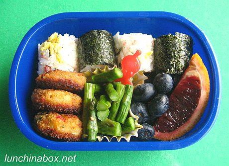 Mixed onigiri bento lunch for preschooler