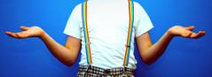 "Day 148/365 ""What I Wear"" (Hunter Wilson) Tags: blue portrait color shirt photoshop self d50 fun rainbow nikon exposure hand arms pants bright clown nolan over half wilson hunter shorts 365 suspenders plaid 2008 timer tone exposed wellstone 365days hunterwilson"