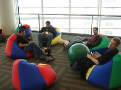 Chilling in Google's beanbag chairs