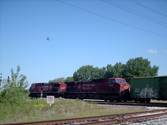 Weatbound Canadian Pacific transfer train passing through Hayford junction. Chicago Illinois. July 2007.