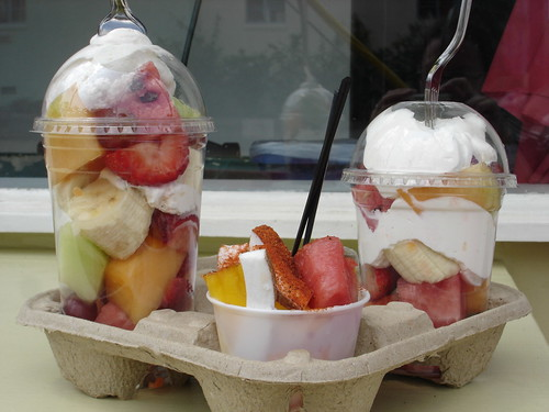 fruit cups with vegan coconut cream