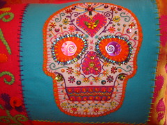 Sugar Skull Pillow Closeup (eklektick) Tags: flowers orange green de dayofthedead dead skull diy los purple handmade embroidery teal dia diadelosmuertos muertos sequins embroidered beaded hotpink sugarskull