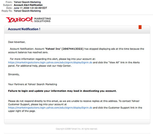 Beware of Yahoo Search Marketing Phishing Email Scams