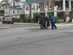 Man Pushing a Cart Loaded with Musical Equipment (iirraa) Tags: new city music man newjersey keyboard nj atlantic atlanticcity jersey cart