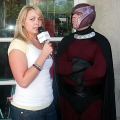 Magneto interview (scragz) Tags: california people news guy girl canon lenstagged sandiego cosplay xmen 10d 2008 interview comiccon comicon magneto canon28105f3545