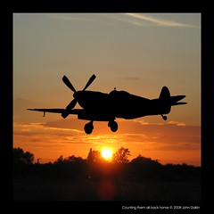 Counting them all back home (Heaven`s Gate (John)) Tags: sunset history topf25 silhouette plane aeroplane nostalgia spitfire worldwartwo 500x500 50faves 25faves duxfordwarmuseum johndalkin heavensgatejohn goldstaraward flickrlovers countingthemallbackhome