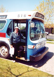 Eddie K and a Kenosha Transit 1975 GMC fishbowl windshield bus. Kenosha Wisconsin. April 2000.