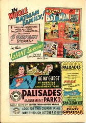 Batman and Superman advertisement (_mel42_) Tags: newjersey comic books superman batman comicbooks batgirl 1960s 1964 palisadesamusementpark batmite