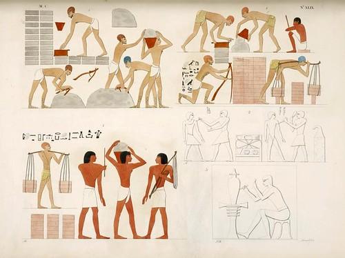13- Judios fabricando ladrillos. Pintores y escultores de estatuas y jarrones.