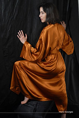 The Movement (MARIO BOURGES) Tags: orange black hair model scenery shine robe tissue laranja preto modelo satin cenrio cabelo brilho tecido cetim