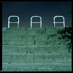 Stone Steps (gullevek) Tags: longexposure light sky 6x6 film japan stone night stairs geotagged lights iso100 tokyo kodak bronica    bronicasqai  zenzabronicasqai kodakektachromeepp100 geo:lat=35560569 geo:lon=139686755 zenzanonps50mmf35