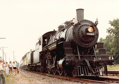 Preserved 1907 built Chicago & NorthWestern Railroad steam locomotive # 1385. The West Chicago Illinois Railroad Days Celebration. West Chicago Illinois. July 1983.
