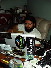 I like your laptop (gabreela) Tags: man bedroom mess bottles laptop stickers istanbul videogames cups acoustic cds elsalvador lounging dvds computerdesk alchemy ninjaturtles guitarplaying arizonaicedtea beardcore littleblackbook lovewins pagefrance hplaptop joserivas detroitmercy