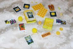 Yellow Busy Box - Craft Kit - Altered Matchbox Contents (Pictures by Ann) Tags: yellow altered scrapbook paper children rainyday expression buttons stickers creative craft boredom stamp buster kit adults matchbox postagestamp busybox artkit travelkit womanmade alteredmatchbox quickcraft boredombuster madebyawoman atckit embellshment rainydaykit handmademadebyhand