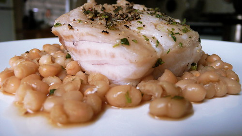 braised hake with navy beans