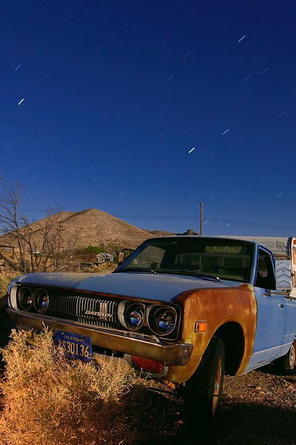 auto california ca old longexposure nightphotography classic abandoned car truck vintage town automobile desert ghost pickup darwin historic mining fullmoon mojave vehicle datsun 620 takenpictures