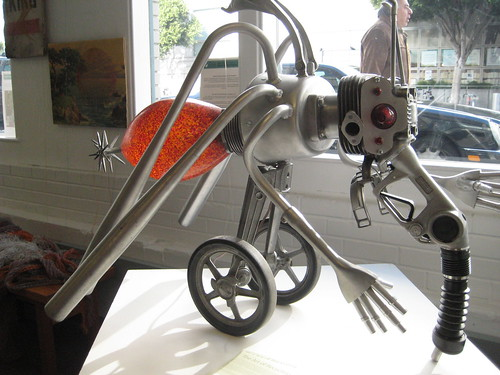 Recycled art mosquito on wheels