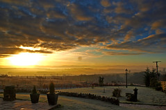 The Start of a New Day (edowds) Tags: sky mist clouds sunrise garden landscape scotland scenery frost perthshire scenic ochilhills 5photosaday newfowlis platinumheartaward
