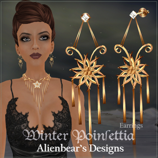 Winter Poinsettia gold earrings white