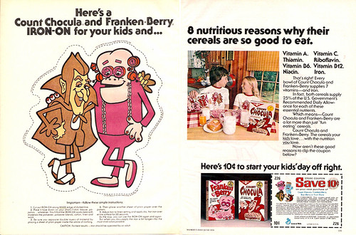 1976 Count Chocula Frankenberry Cereal Ad