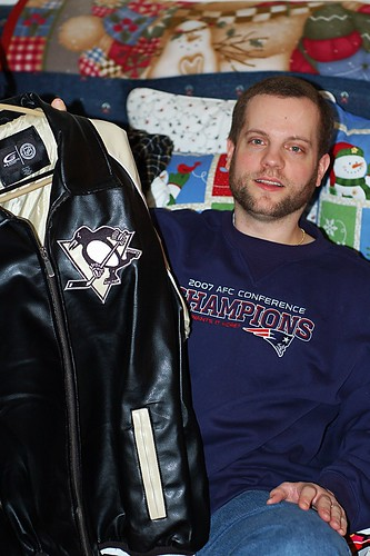 Mike and leather jacket.