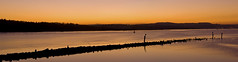 Bowling Harbour - River Clyde Panorama (Gavin Ritchie) Tags: uk light sunset panorama sun mountains water silhouette river scotland clyde twilight harbour britain glasgow panoramic hills bowling photomerge letterbox manfrotto breakwater photostitch panned dunbarton