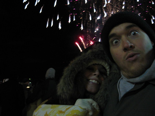 Shannon and I on Penns Landing in Philadelphia watching the citys fireworks display.
