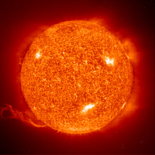 an image of the sun filtered to show roiling detail on the surface
