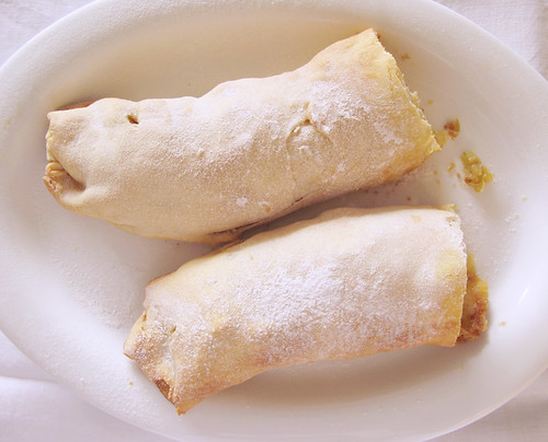 Apple, Cinnamon, and Sultana Strudel (top)