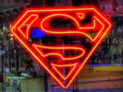 Superman (jhandelman) Tags: new york city urban saint canon comics lights neon symbol superman powershot marks g7 flickrlovers